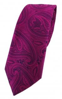 TigerTie - schmale Krawatte in magenta beere lila schwarz Paisley gemustert