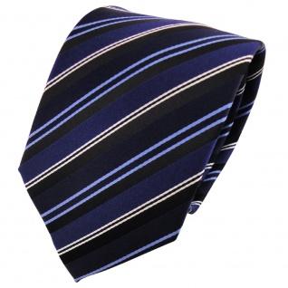 Seidenkrawatte dunkelblau marine hellblau schwarz silber gestreift - Krawatte