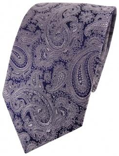 schöne jacquardgewebte TigerTie Seidenkrawatte grau dunkelblau Paisley