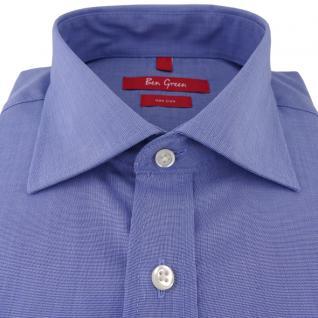 Ben Green Herrenhemd blau Uni langarm bügelfrei - New-Kent-Kragen Hemd Gr.40 - Vorschau 2