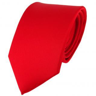TigerTie Satin Seidenkrawatte verkehrsrot einfarbig Uni - Krawatte 100% Seide