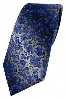 TigerTie Designer Krawatte in marine royal blau silber geblümt gemustert