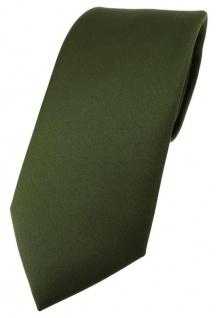 TigerTie Designer Krawatte in olivegrün einfarbig Uni - Tie Schlips