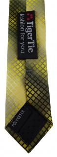 schmale TigerTie Designer Krawatte in gelb gold silber grau schwarz kariert - Vorschau 5