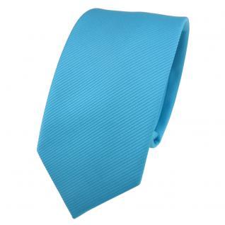 Schmale TigerTie Designer Krawatte türkis türkisblau Uni Rips - Binder Tie