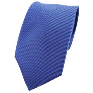 TigerTie Seidenkrawatte blau capriblau Uni längs gestreift - Krawatte Seide