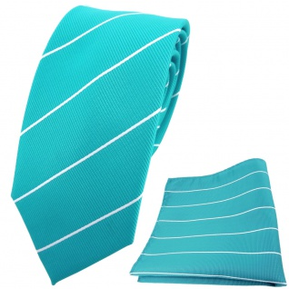 schmale TigerTie Krawatte + Einstecktuch türkis türkisblau silber gestreift
