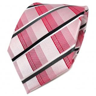 TigerTie Designer Seidenkrawatte rot anthrazit weiß kariert - Krawatte Seide