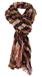 Schal Größe 180 x 100 cm Raffschal in magenta lila rosa gemustert