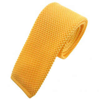 TigerTie - schmale Strickkrawatte gelb knallgelb einfarbig uni