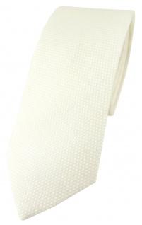schmale TigerTie Designer Krawatte Pique in creme gemustert - 100% Baumwolle