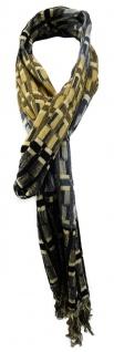 TigerTie Designer Schal in beige schwarz blau grau gemustert mit Fransen