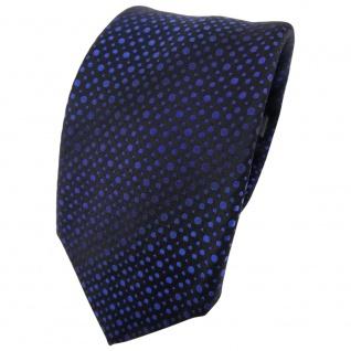 Enrico Sarto Seidenkrawatte blau dunkelblau schwarz gepunktet - Krawatte Seide