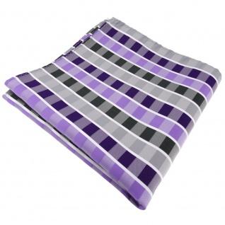 Einstecktuch in lila flieder grau anthrazit weiß gestreift - Tuch 100% Polyester