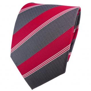 Satin Seidenkrawatte rot grau schwarz silber gestreift - Krawatte Seide Tie
