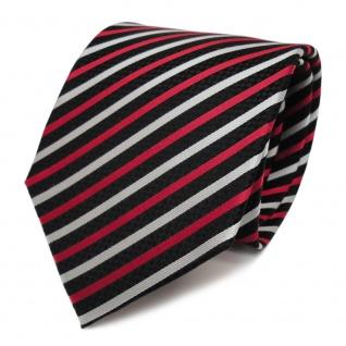 Designer Seidenkrawatte rot silber schwarz gestreift - Krawatte Seide Tie
