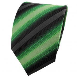 TigerTie Designer Seidenkrawatte laubgrün grün anthrazit schwarz gestreift