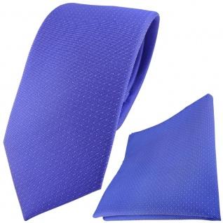 Seidenkrawatte + Einstecktuch in blau silber gepunktet - Krawatte 100% Seide