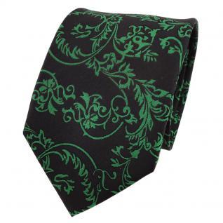TigerTie Designer Seidenkrawatte grün schwarz gemustert - Krawatte Seide Silk