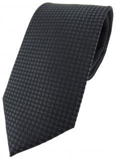 TigerTie Seidenkrawatte Satin schwarz anthrazit gepunktet - Krawatte 100% Seide