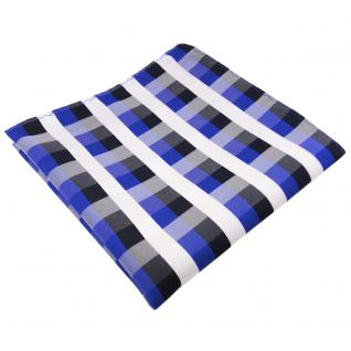 schönes Einstecktuch in blau royal kobaltblau weiß kariert - Tuch 100% Polyester