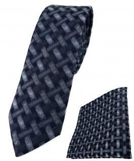 schmale TigerTie Krawatte + Einstecktuch anthrazit schwarz - Motiv Flechtmuster