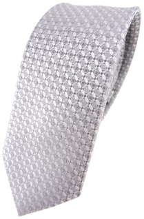 schmale TigerTie Hochzeit Seidenkrawatte in silber grau gemustert - Krawatte