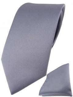 TigerTie Designer Krawatte + TigerTie Einstecktuch in silber einfarbig uni