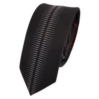 Schmale Designer Krawatte schwarz silber grau gemustert - Schlips Binder Tie