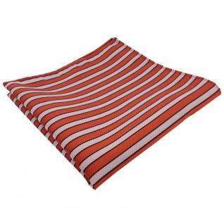 schönes Einstecktuch in orange rotorange creme schwarz gestreift - Tuch Tücher
