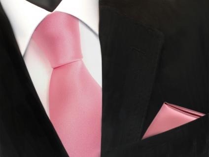 schöne TigerTie Krawatte + Einstecktuch rosa altrosa uni - Binder Tie Polyester