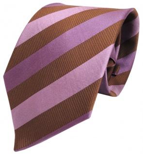 schöne Krawatte in rosa braun violett gestreift - 100% Seide / Silk