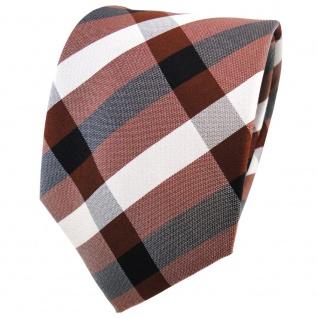 TigerTie Seidenkrawatte braun kupferbraun silber anthrazit kariert - Krawatte