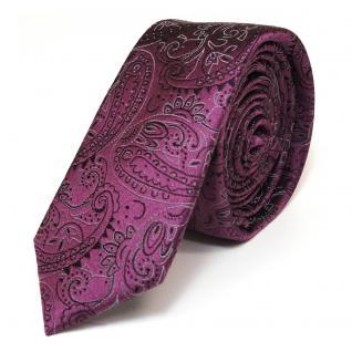 schmale schöne MEXX Seidenkrawatte in flieder lila Paisley-Muster - Krawatte Tie