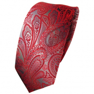 Schmale TigerTie Seidenkrawatte rot verkehrsrot anthrazit grau Paisley- Krawatte