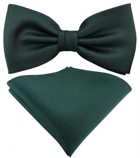 TigerTie Satin Fliege + Einstecktuch grün dunkelgrün moosgrün Uni + Geschenkbox