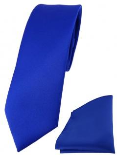 schmale TigerTie Designer Krawatte + Einstecktuch in royal einfarbig uni