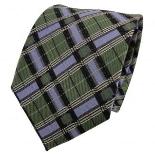 TigerTie Designer Seidenkrawatte grün blau schwarz kariert - Krawatte Seide