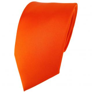 TigerTie Satin Seidenkrawatte in orange einfarbig Uni - Krawatte 100% Seide