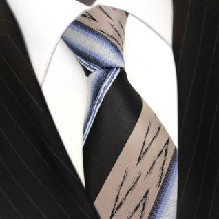 feine Krawatte Stoff Polyester in braun schwarz blau silber gestreift