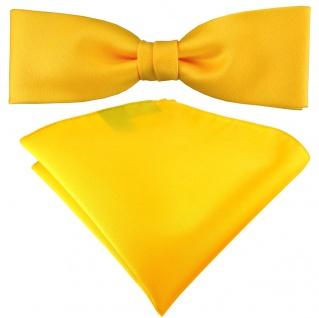 schmale TigerTie Fliege + Einstecktuch in gelb sonnengelb einfarbig + Box