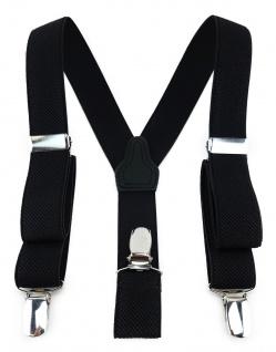 TigerTie Kinder Hosenträger mit 3 extra starken Clips - schwarz einfarbig Uni