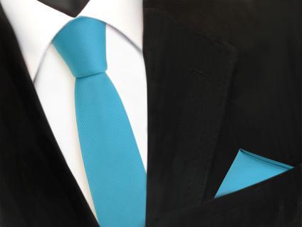 Schmale Designer TigerTie Krawatte + Einstecktuch türkis türkisblau Uni Rips