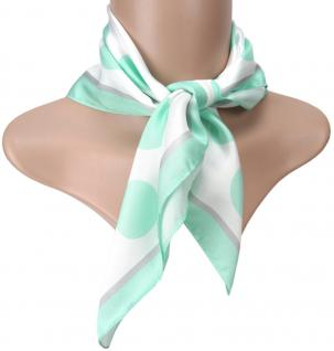 TigerTie Seiden Nickituch Satin in mint silbergrau weiss gepunktet - 50 x 50 cm