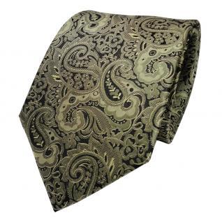 TigerTie Designer Seidenkrawatte grün oliv schwarz paisley - Krawatte Seide Tie