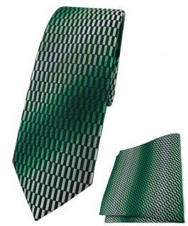 schmale TigerTie Krawatte + Einstecktuch in grün schwarz silber gemustert