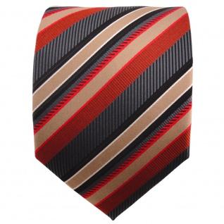schöne TigerTie Designer Krawatte rot anthrazit gold silber gestreift - Binder - Vorschau 2