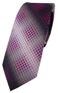 schmale TigerTie Designer Krawatte in violett lila silber grau schwarz kariert