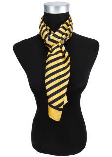 Satin Schal in gelb sonnengelb marine gestreift - 100% Seide - Gr. 27 x 140 cm
