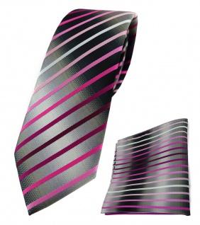 schmale TigerTie Krawatte + Einstecktuch rosa weiss silbergrau schwarz gestreift